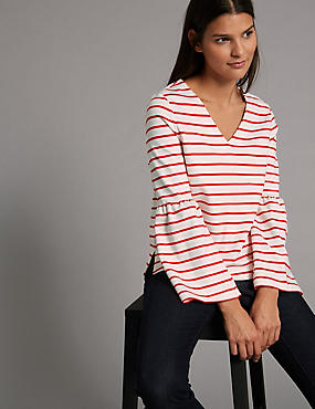 Striped V-Neck Long Sleeve T-Shirt, RED MIX, catlanding