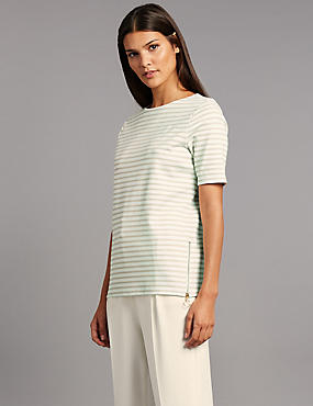 Striped Ponte Short Sleeve T-Shirt, IVORY MIX, catlanding