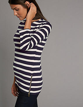 Striped Round Neck 3/4 Sleeve T-Shirt, NAVY MIX, catlanding