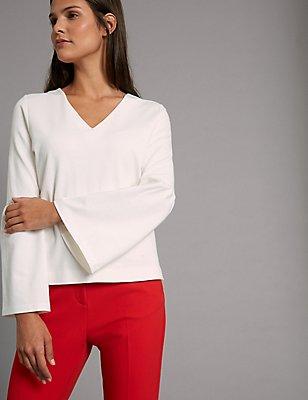 V-Neck Flute Sleeve T-Shirt, SOFT WHITE, catlanding