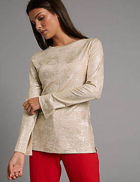 Metallic Round Neck Long Sleeve T-Shirt, GOLD, catlanding