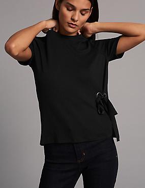 Ribbed Tie Side Short Sleeve T-Shirt, BLACK, catlanding