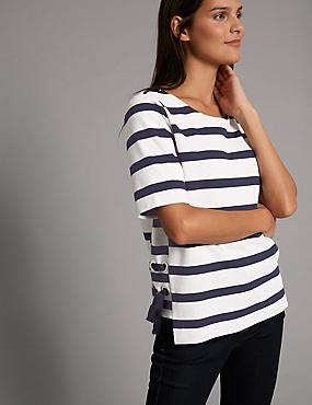 T-shirt sans coutures 100% coton à rayures avec oeillet, BLEU MARINE ASSORTI, catlanding
