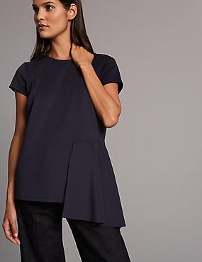 Asymmetrical Hem Short Sleeve T-Shirt, NAVY, catlanding