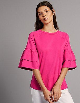 Pure Cotton Flute Sleeve Round Neck T-Shirt, FUCHSIA, catlanding