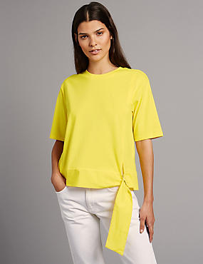 Pure Cotton Tie Side Half Sleeve T-shirt, BRIGHT YELLOW, catlanding