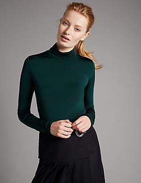 Top en jersey aspect soyeux à col roulé et manches longues, BOTTLE GREEN, catlanding