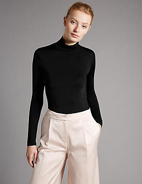 Top en jersey aspect soyeux à col roulé et manches longues, BLACK, catlanding