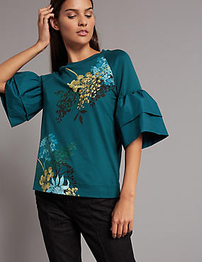 Floral Print Flute Sleeve T-Shirt, TEAL MIX, catlanding