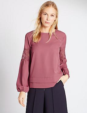Long Sleeve Lace Insert Jersey Top, CARMINE, catlanding