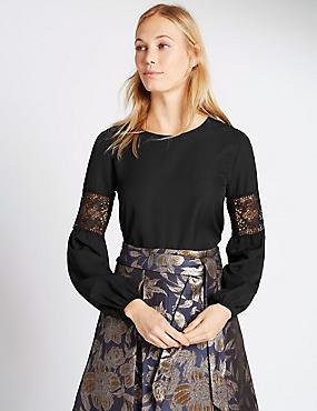 Long Sleeve Lace Insert Jersey Top, BLACK, catlanding