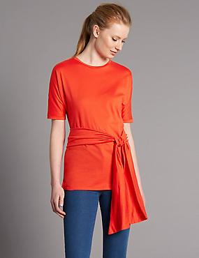 Pure Cotton Tie Waist Longline Jersey Top, RED, catlanding