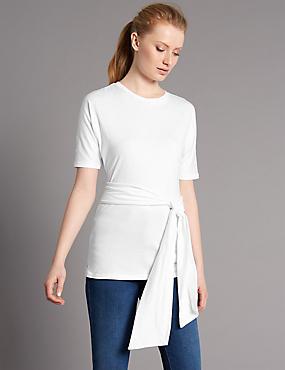Pure Cotton Tie Waist Longline Jersey Top, SOFT WHITE, catlanding
