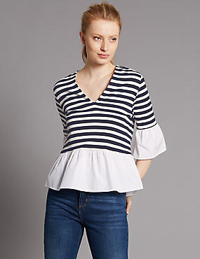 Striped V-Neck Flared Sleeve Jersey Top, NAVY MIX, catlanding