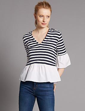 Striped V-Neck Flared Sleeve Blouse, NAVY MIX, catlanding