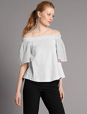 Pure Cotton Striped Half Sleeve Bardot, WHITE MIX, catlanding