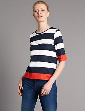 Cotton Blend Striped Half Sleeve Jersey Top, NAVY MIX, catlanding