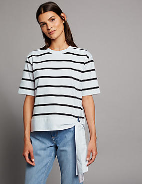 Pure Cotton Striped Tie Side T-Shirt, BLACK MIX, catlanding