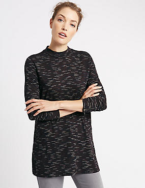 Loose Fit Space Dye Tunic, BLACK MIX, catlanding