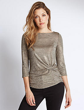 3/4 Sleeve Metallic Jersey Top, GOLD, catlanding