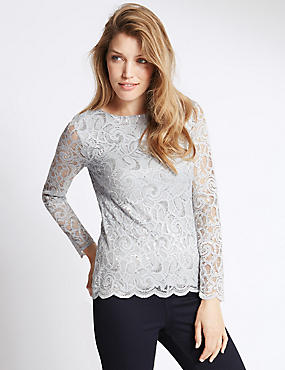 Long Sleeve Lace Jersey Top, SILVER GREY, catlanding