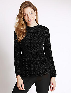 Devore Peplum Long Sleeve Top, BLACK, catlanding