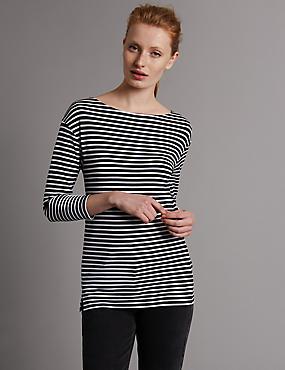 Striped Slash Neck 3/4 Sleeve Jersey Top, BLACK MIX, catlanding