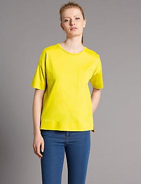 Pure Cotton Dipped Hem Half Sleeve T-Shirt, YELLOW, catlanding