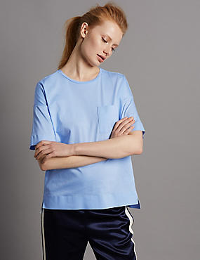 Pure Cotton Round Neck Half Sleeve T-Shirt, PERIWINKLE, catlanding