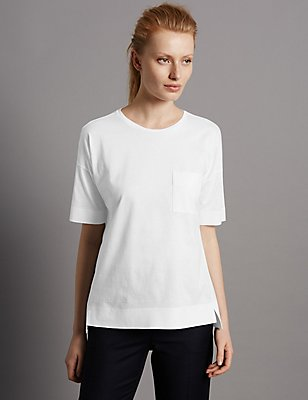 Pure Cotton Dipped Hem Half Sleeve T-Shirt, WHITE, catlanding