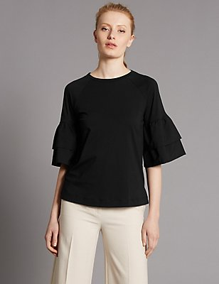 Pure Cotton 3/4 Sleeve Jersey Top, BLACK, catlanding