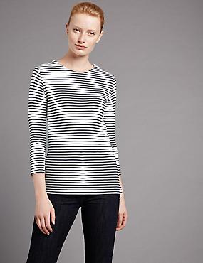 Zipped Shoulder 3/4 Sleeve Jersey Top, NAVY MIX, catlanding