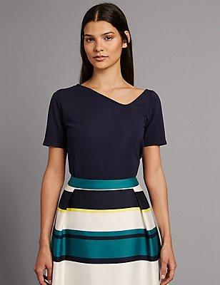 Asymmetric V-Neck Short Sleeve T-Shirt, NAVY, catlanding