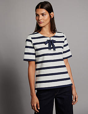 Pure Cotton Striped Tie Detail T-Shirt, NAVY MIX, catlanding