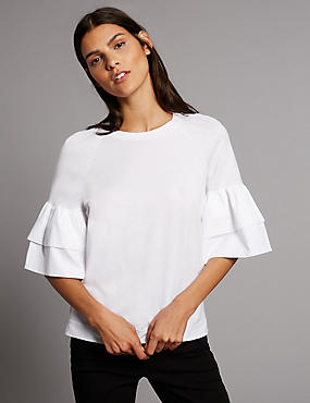 Pure Cotton Flared Sleeve T-Shirt, SOFT WHITE, catlanding