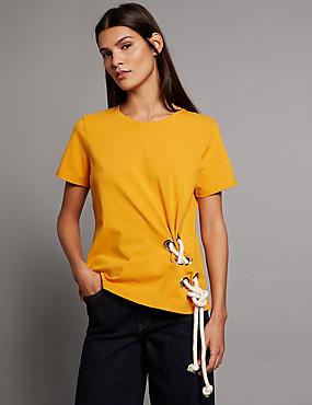Cotton Rich Rope Eyelet T-Shirt, DARK ORANGE, catlanding