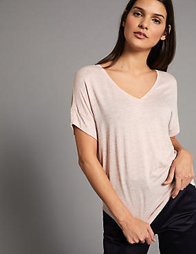 V-Neck Short Sleeve T-Shirt with Silk, OATMEAL, catlanding