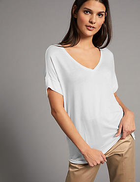 V-Neck Short Sleeve T-Shirt with Silk, WHITE, catlanding