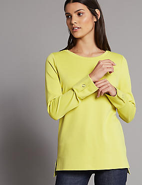 Bonded Hem Round Neck Long Sleeve T-Shirt , LIME, catlanding