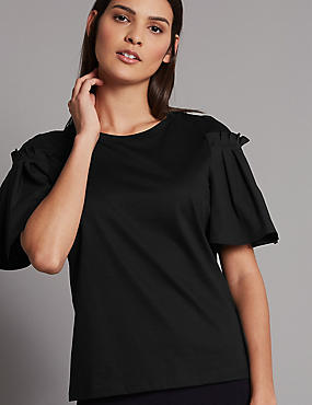 Pure Cotton Flute Sleeve Round Neck T-Shirt , BLACK, catlanding