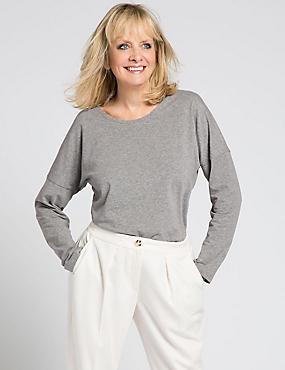 Slim Fit Cotton Rich Jersey Top, GREY MARL, catlanding
