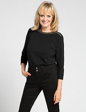 Trimmed 3/4 Sleeve T-Shirt, BLACK, catlanding