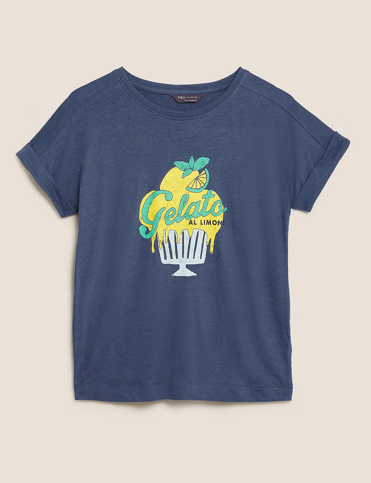 Льняная футболка с надписью Bring On Sunshine