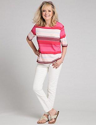 Modal Blend Striped Half Sleeve T-Shirt, PINK MIX, catlanding