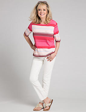 Modal Blend Striped Half Sleeve T-Shirt, PINK MIX, catlanding