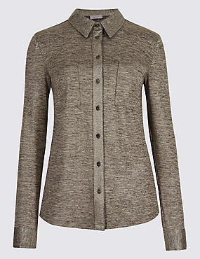 Metallic Long Sleeve Shirt, GOLD, catlanding