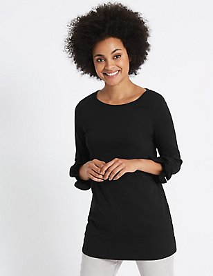 Cotton Rich Ruffle Cuff 3/4 Sleeve Tunic , BLACK, catlanding