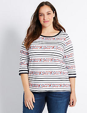PLUS– T-shirt fleuri 100% coton, IVOIRE ASSORTI, catlanding