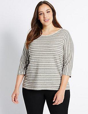 PLUS Cotton Rich Striped 3/4 Sleeve T-Shirt, IVORY MIX, catlanding