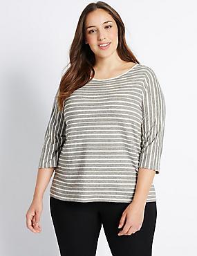 PLUS– T-shirt en coton à manches3/4 et rayures, IVOIRE ASSORTI, catlanding